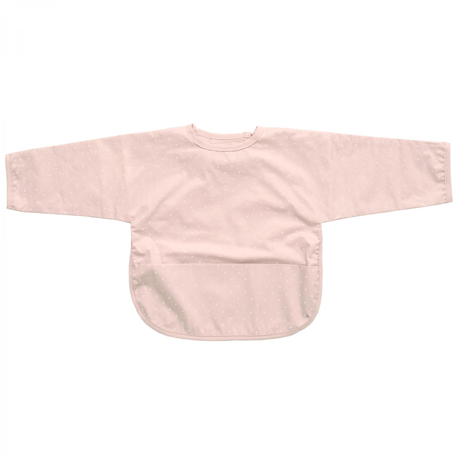 Bib with sleeves pale pink dotty