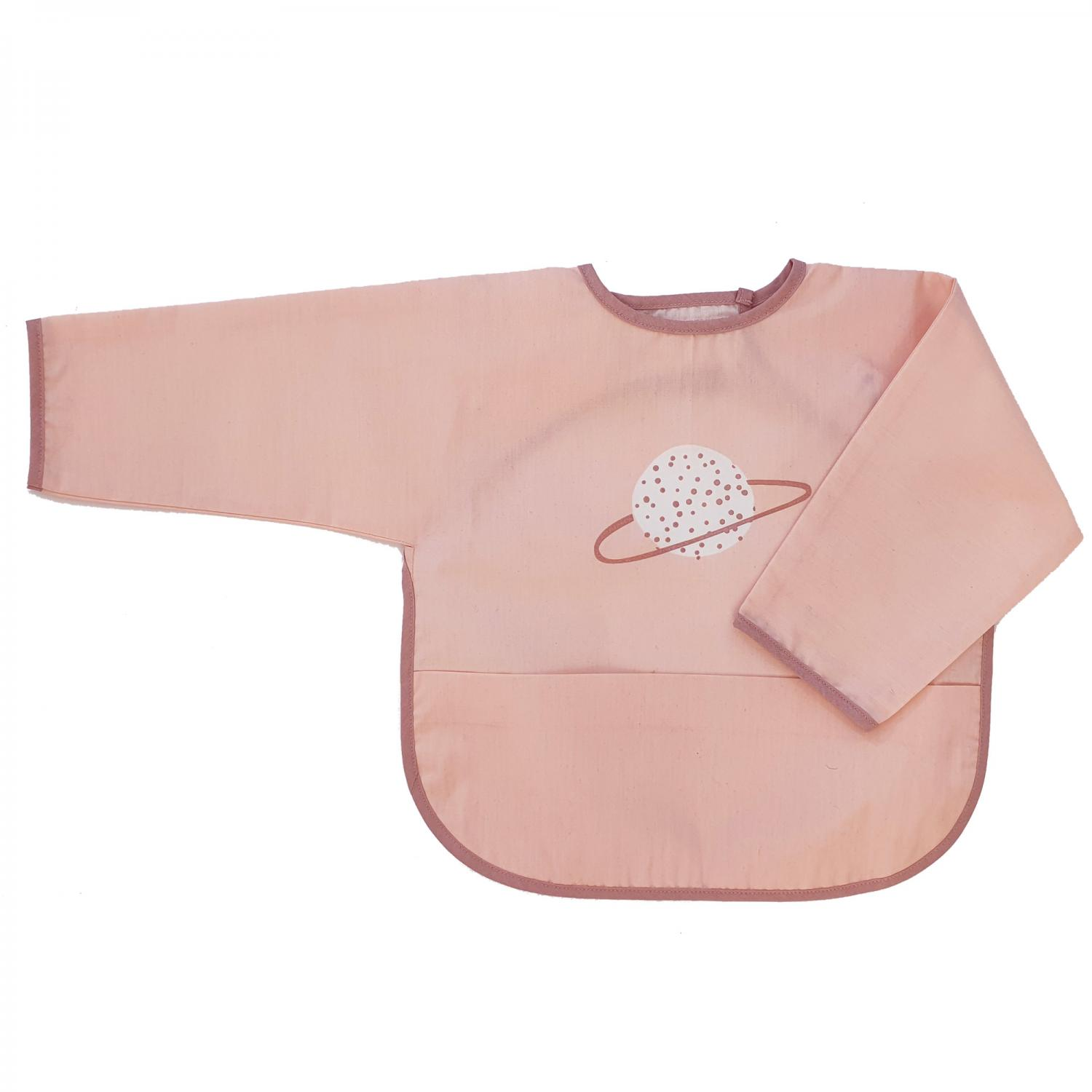 Bib with sleeves dusty rose planet