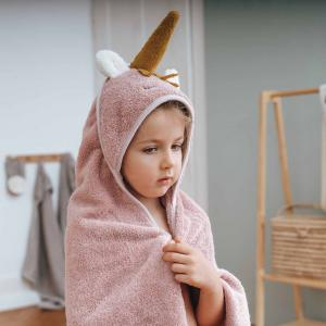 Hooded Towel Unicorn Pale Rose
