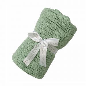 Cellular blanket subtle green GOTS