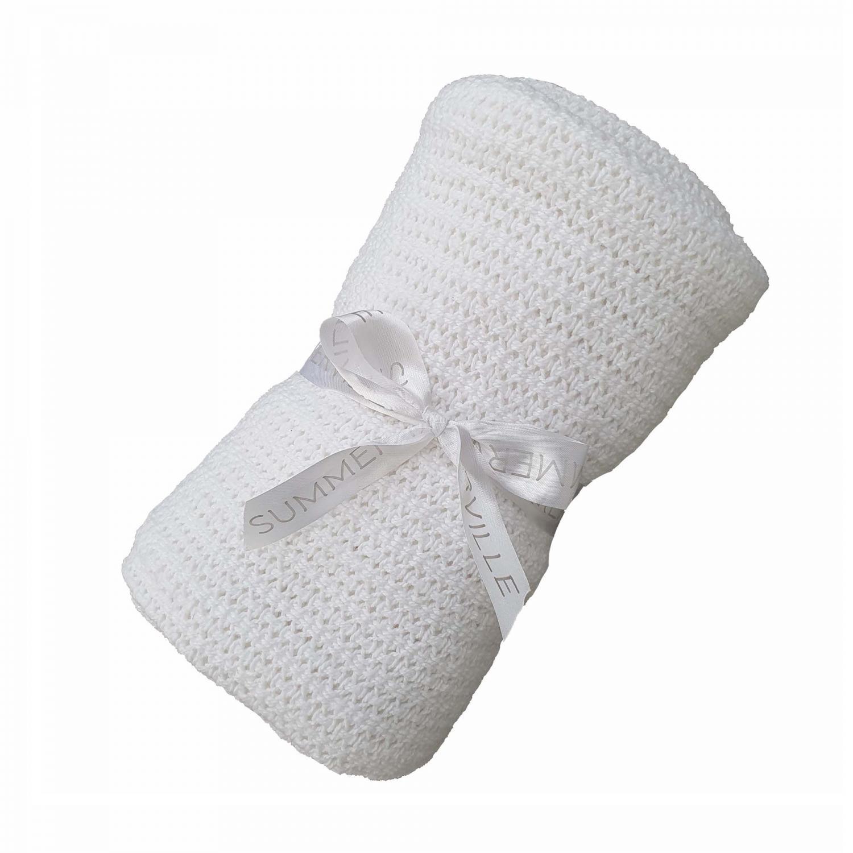 Cellular blanket white GOTS