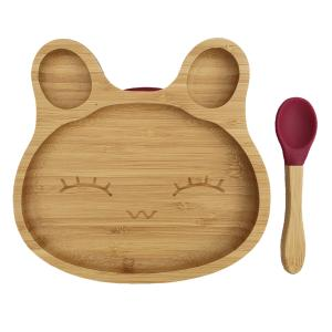 Bamboo tableware rabbit red