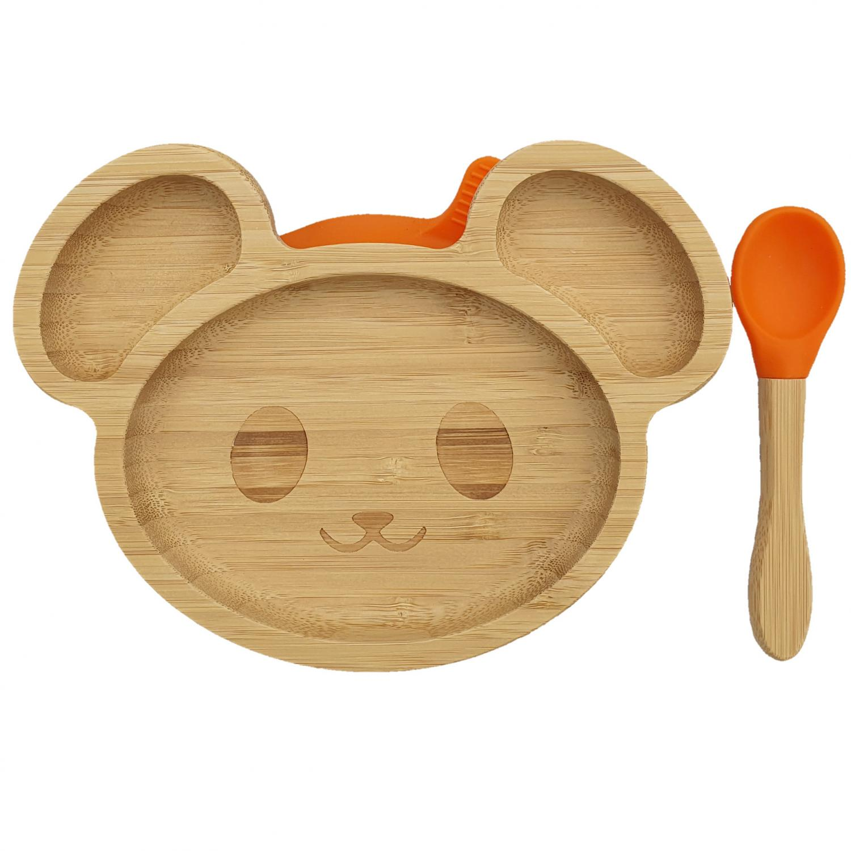 Bamboo tableware mouse orange