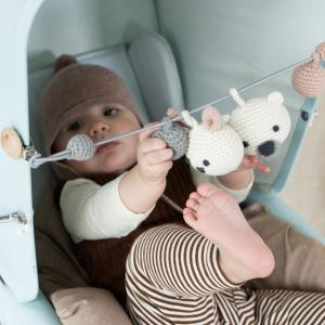 Hugo white pram rattle