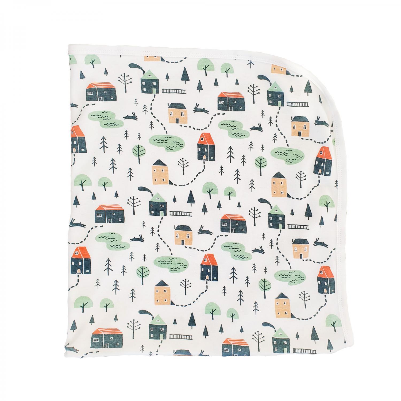 Baby blanket village GOTS
