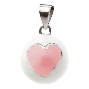 Bola white with pink heart