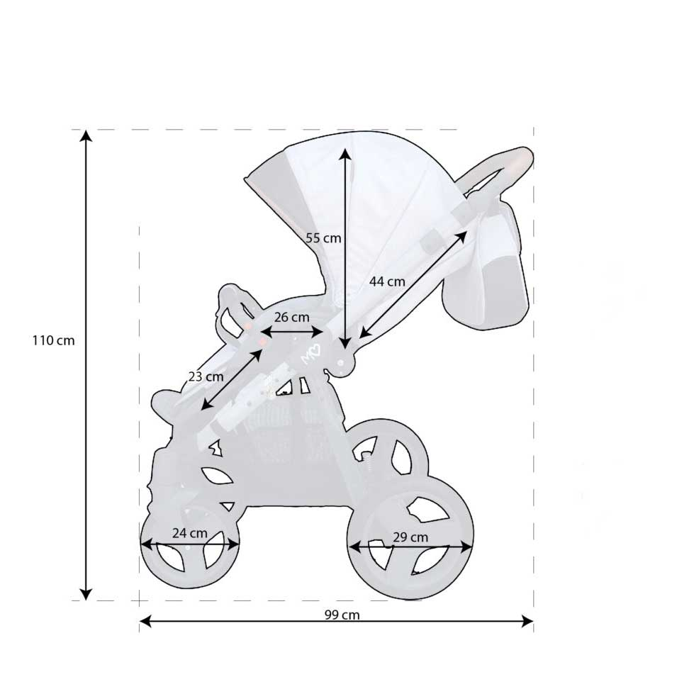 Mommy Glossy barnvagn mått