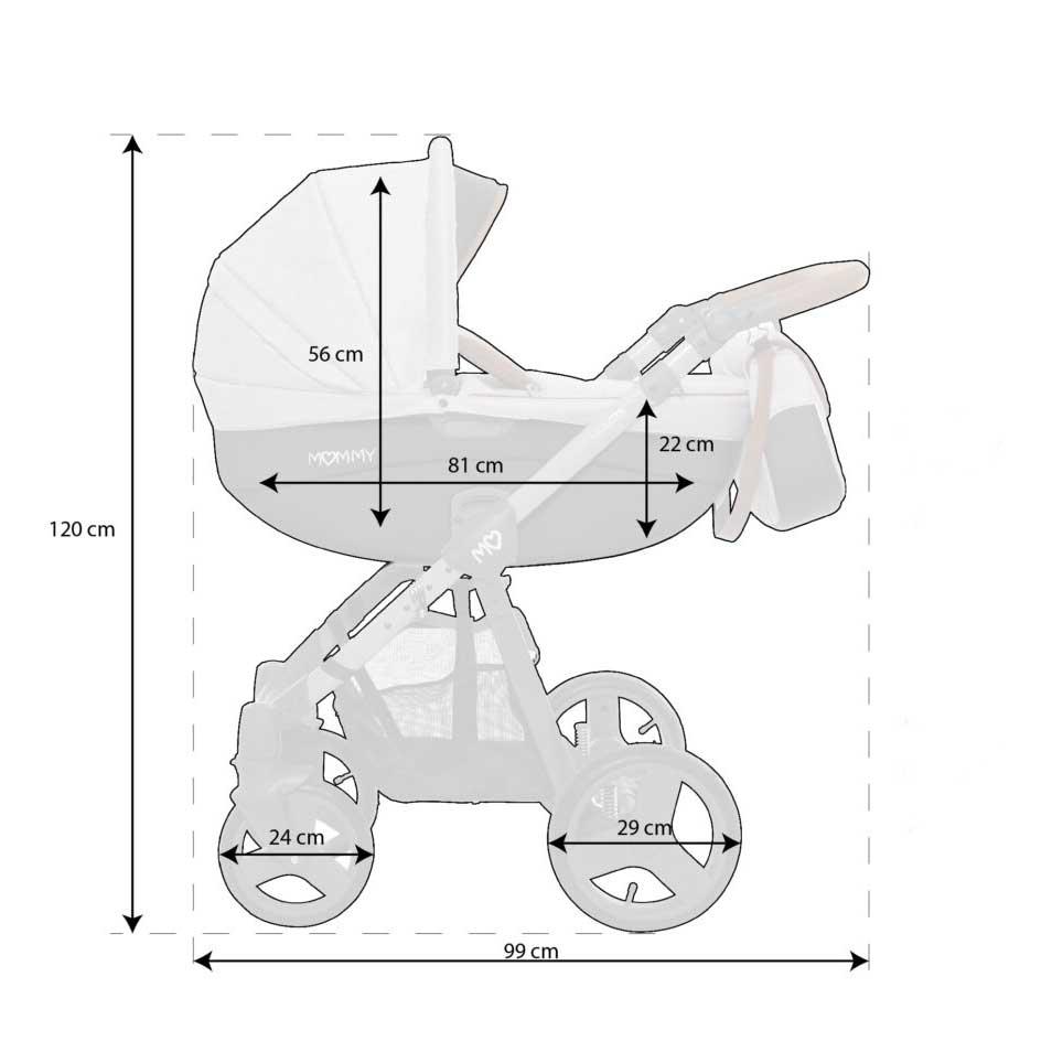 Mommy Glossy barnvagn mått 02