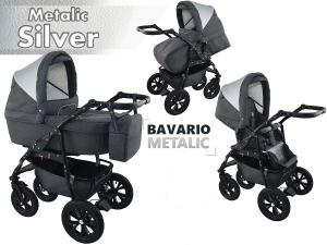 Bavario metalic silver 2 in 1 barnvagn
