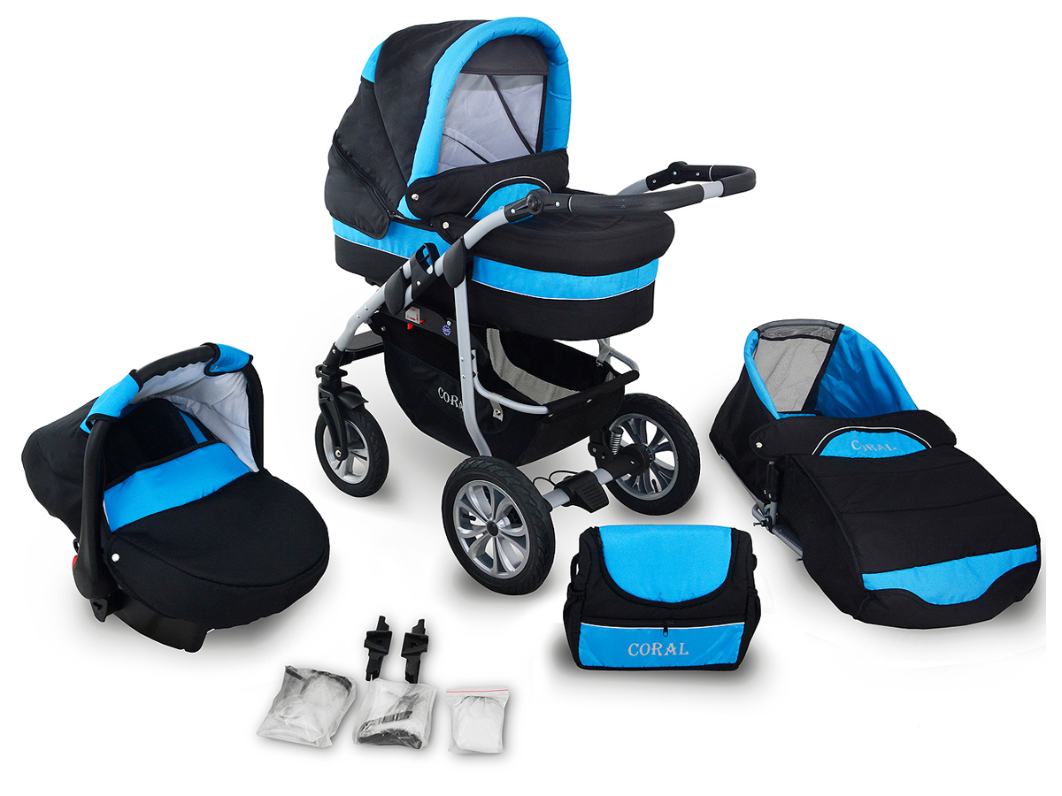 Coral Duo 3 in 1 Barnvagn – Travel System - Petrol Blue