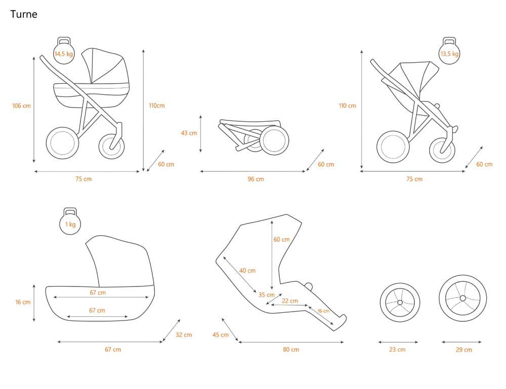 turne barnvagn specifikation