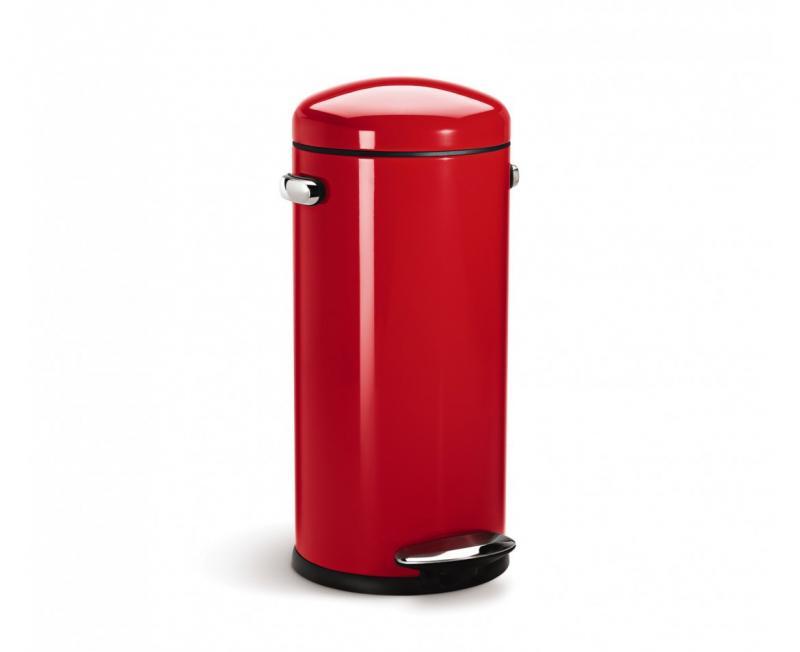 Simplehuman retro pedalhink i rött på 30 liters volym