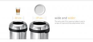 Simplehuman öppna soptunnor har stor kapacitet, är robusta och perfekta för offentlig miljö