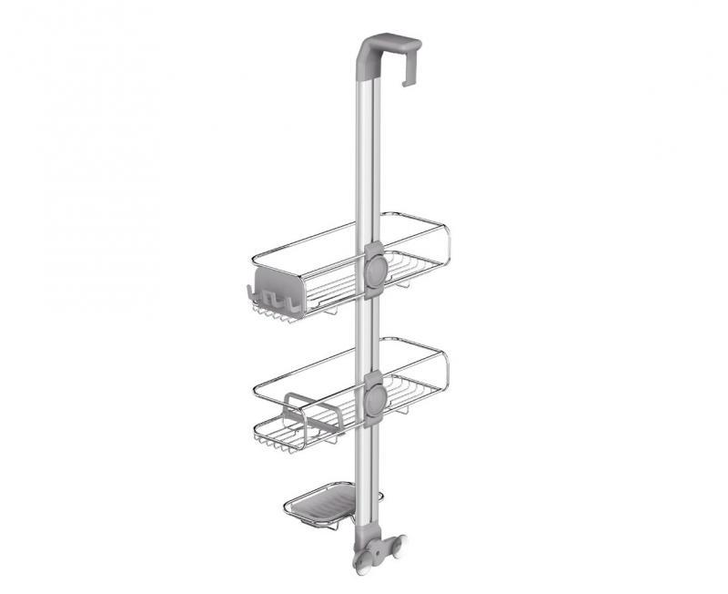 Simplehuman BT1101 duschhylla med två justerbara trådkorgar.