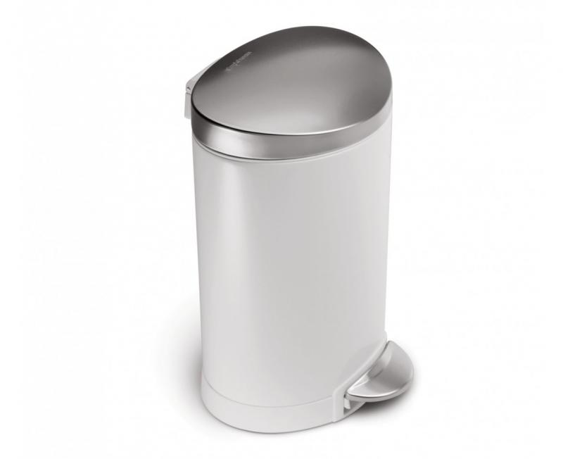 Semi-rund pedalhink 6 L,  vit/lock i rostfritt stål