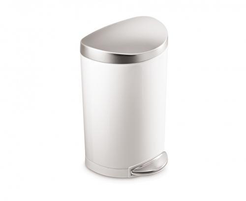 Simplehuman Semi-rund pedalhink på 10 liter. Vit med lock i rostfritt stål. Soft close