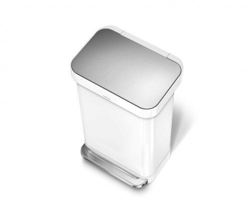 Simplehuman CW2027, 45 liter, rektangulär pedaltunna, vitt stål