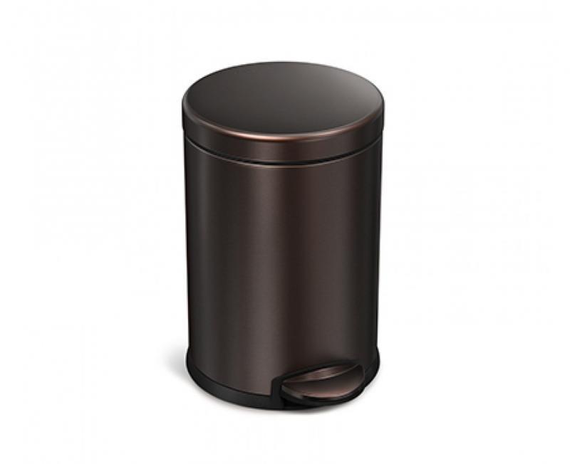 Rund pedalhink 4,5 liter, mörk brons, rostfritt stål