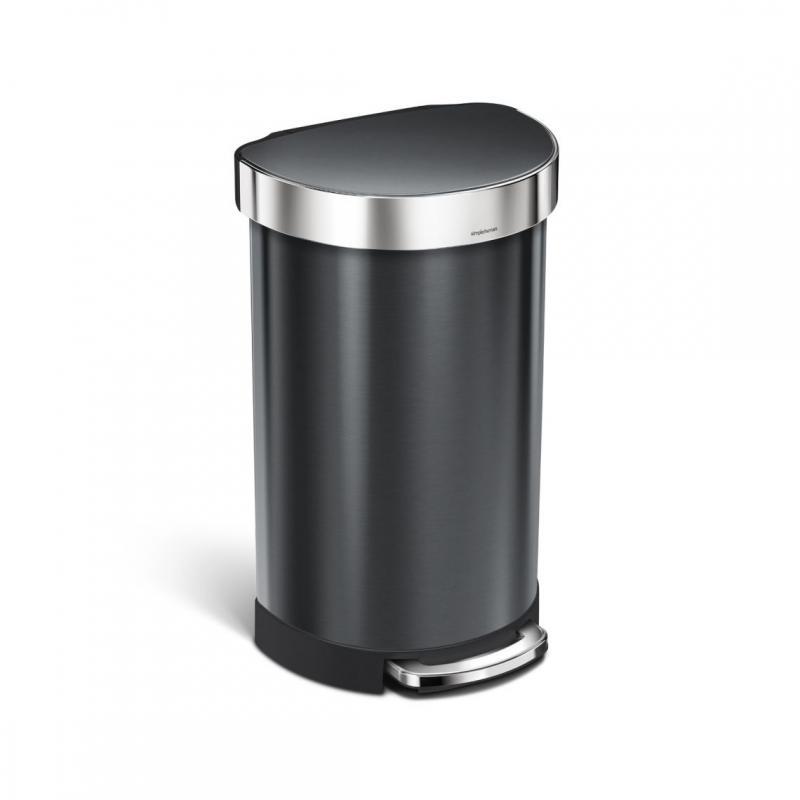 Semi-rund pedaltunna 45 l, svart