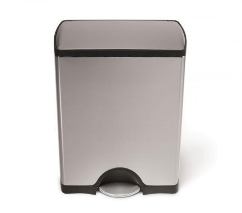 Rektangulär pedaltunna 50 liter, borstat rostfritt stål