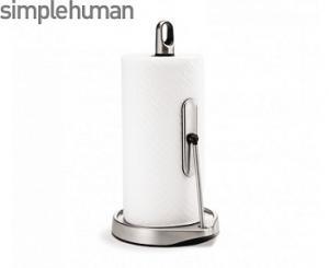 Hållare för hushållsrulle med inbyggt stopp