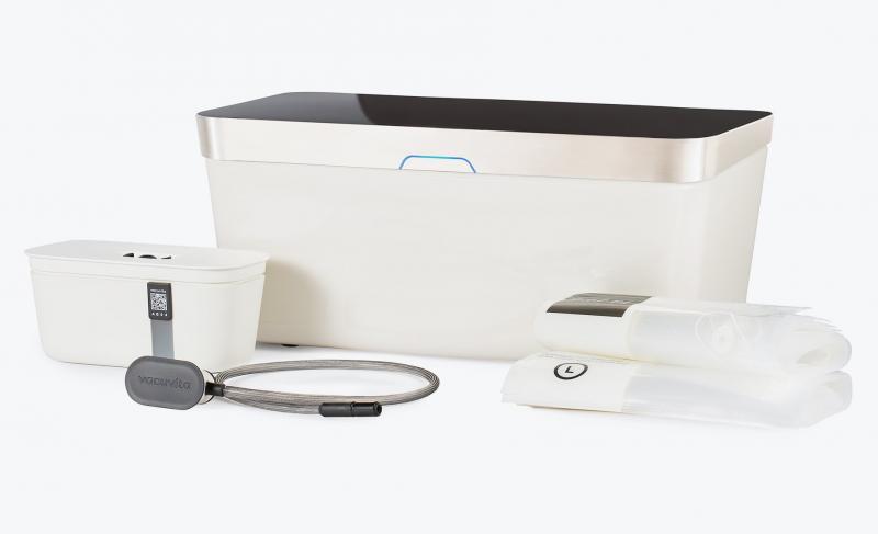 Vacuvita vakuummaskin i vitt. Förlänger hållbarheten på maten. Sparar pengar och miljön