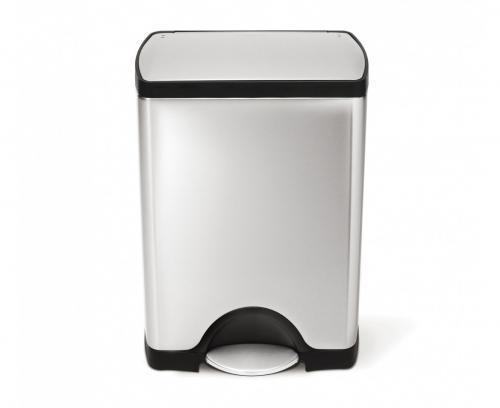 Rektangulär pedaltunna 30 liter, borstat rostfritt stål