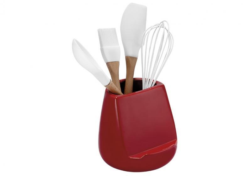 Hållare för köksredskap glossy röd