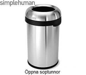 Stor öppen soptunna från Simplehuman. Rymmer mycket och är perfekt i offentliga utrymmen