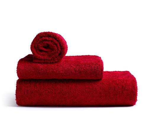 Röda badhanddukar av mjuk frotté av hög kvalitet från Rode Bath