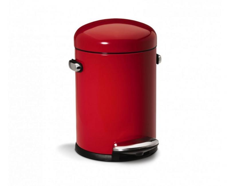 Simplehuman retro pedalhink röd på 4,5 liter