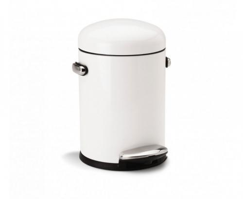 Simplehuman CW1295 pedalhink i retrostil på 4,5 liter, vit