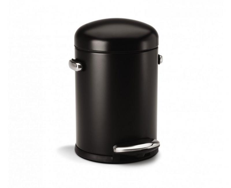 Simplehuman retro pedalhink i svart. volym 4,5 liter