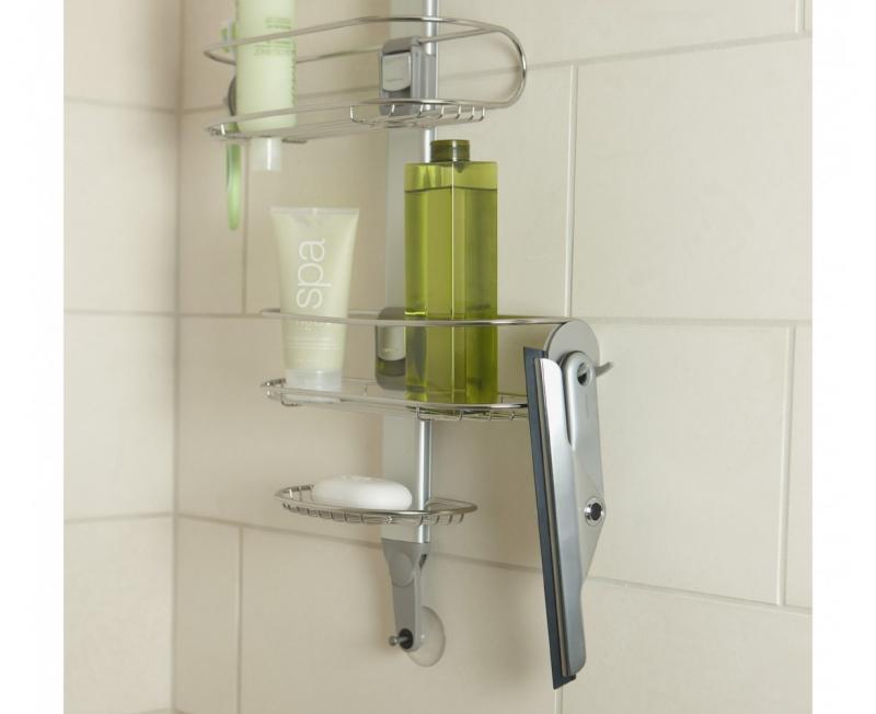 Simplehuman ihopfällbar duschskrapa i rostfritt stål med blad av gummi
