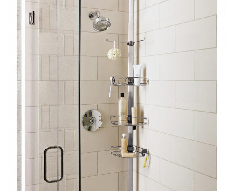 Simplehuman BT1062 duschhylla för hörnplacering med tre trådkorgar