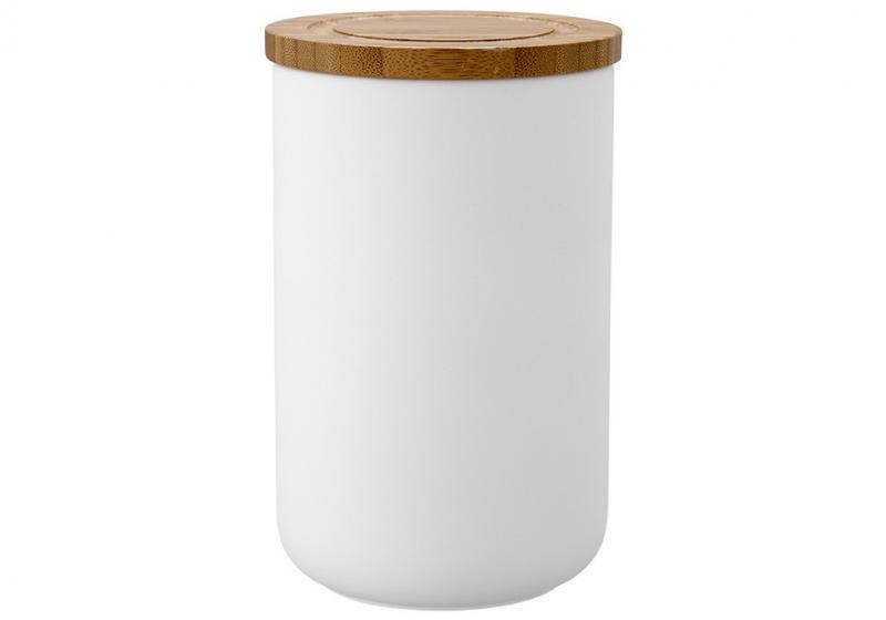Förvaringsburk med lock 17 cm, soft matt vit