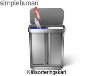 Simplehuman 2 facks soptunna i borstat stål. Idealisk för sopsortering och har en stor kapacitet