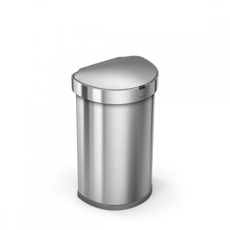Semi-rund sensortunna 45 liter, borstat stål