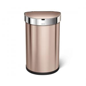 Semi-rund sensortunna 45 liter, Rosenguld rostfritt stål