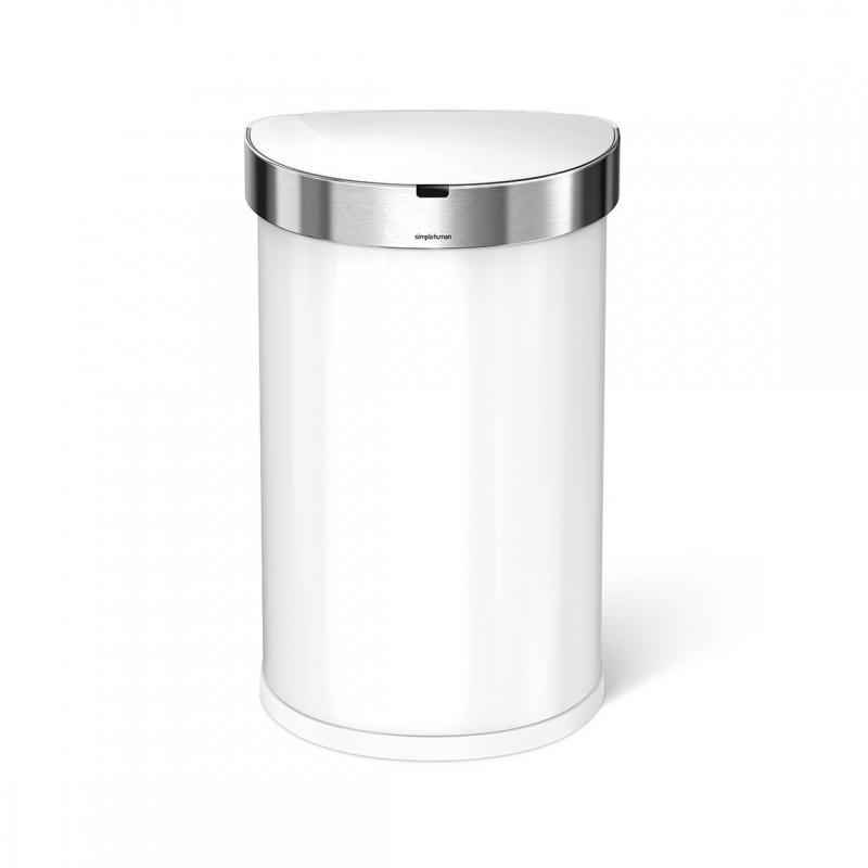 Semi-rund sensortunna 45 liter, vit