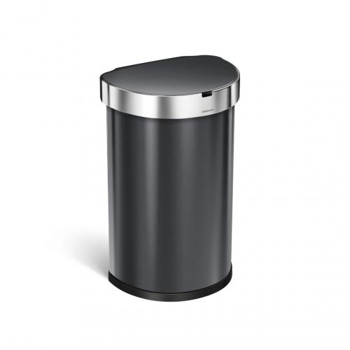 Semi-rund sensortunna 45 liter, svart rostfritt stål