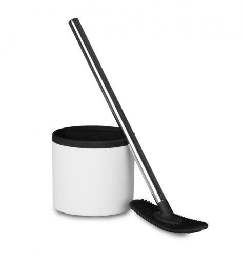 Rode Bath toarengörare i silikon med hållare av svart och vit plast. Ett mera hygiensikt val till bra pris