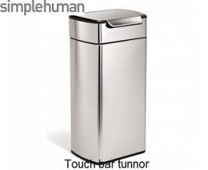 Simplehuman touch bar soptunna i borstat stål. öppnas eneklt med knät, höften eller handen