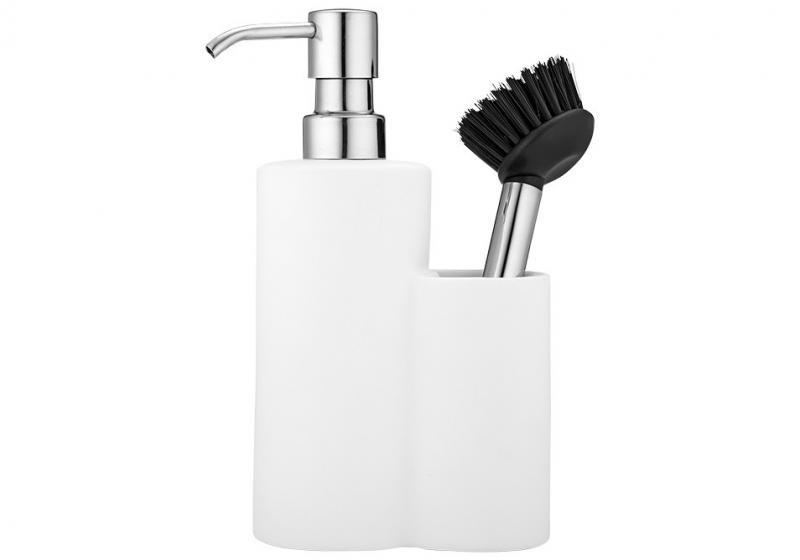 Diskmedelspump med diskborste, matt vit