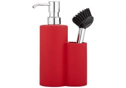 Diskmedelspump med diskborste, matt röd