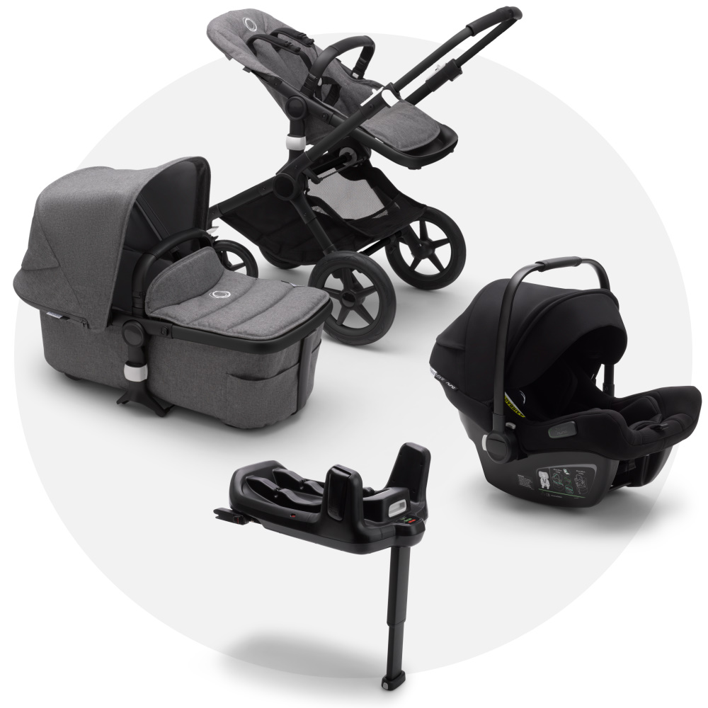 Bugaboo Fox 2 Grey Melange + Turtle Air Black + Wingbase