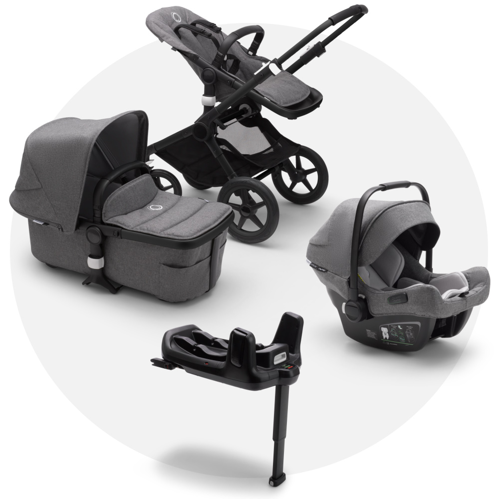 Bugaboo Fox 2 Grey Melange + Turtle Air Grey Melange + Wingbase