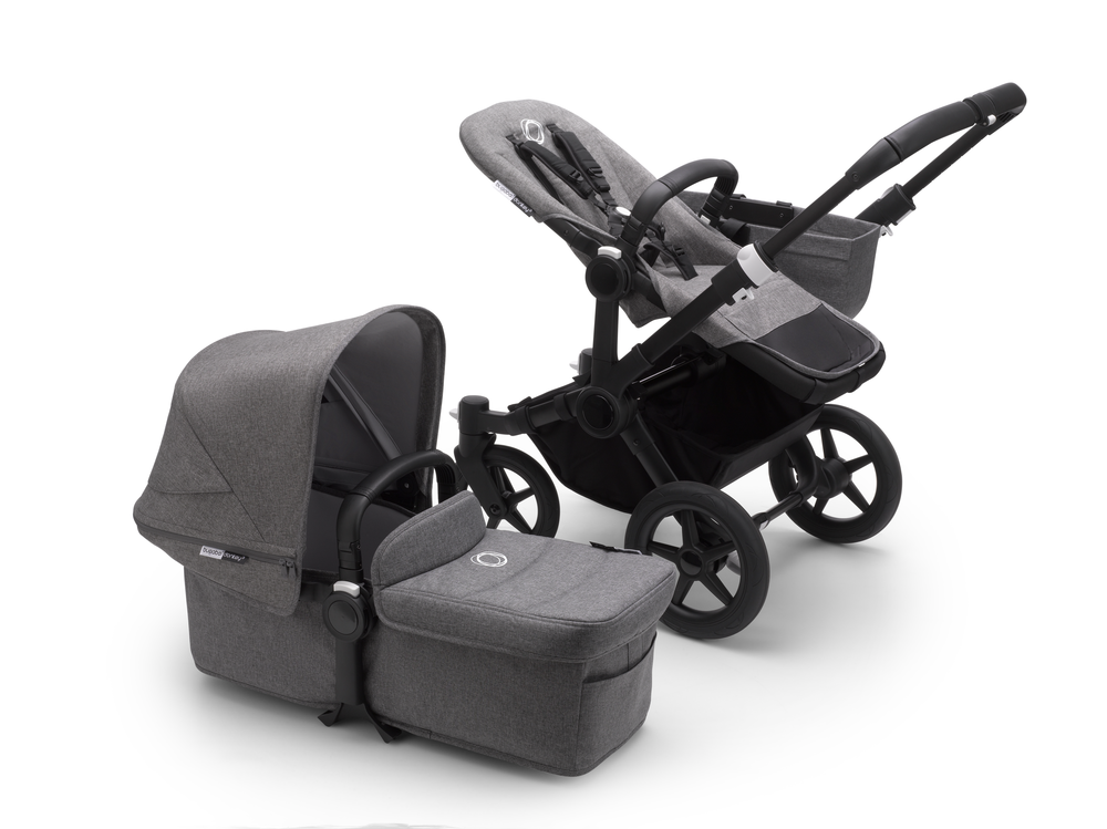 Bugaboo Donkey 3 Black Grey Melange Mono + Turtle Air + Wingbase