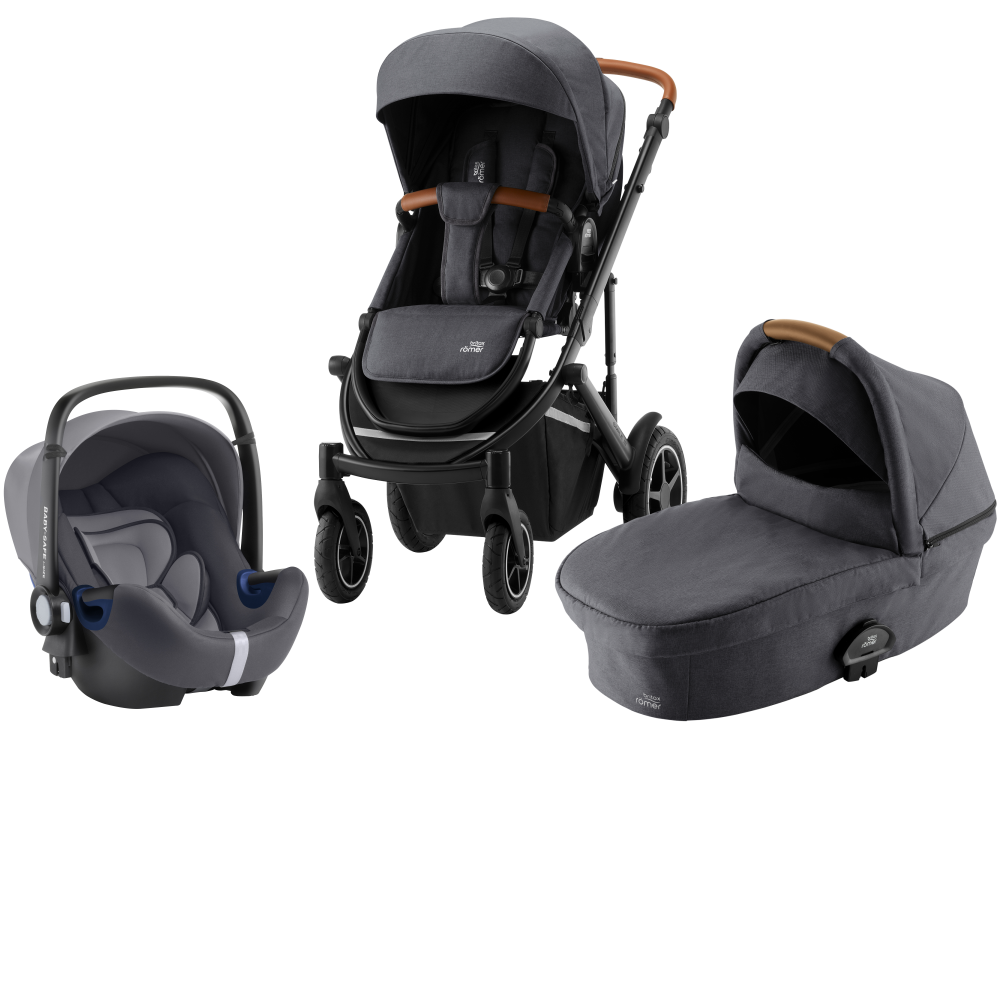 Britax Smile III Duovagn + Baby-Safe² i-Size Babyskydd Midnight Grey