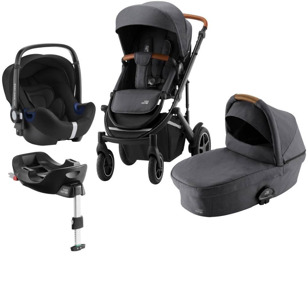 Britax Smile lll Duovagn + Baby Safe² i-Size + Flex bas Midnight grey